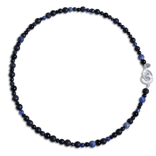 Blaa / black narrow jewelery set in Sodalite - Necklace / armband