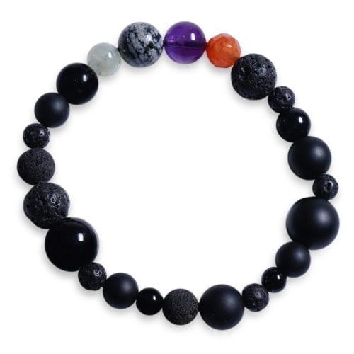 Orange/lilla/graa/groen/sort stjernetegn armbaand i Snefnug Obsidian - Stjernetegnsmykke
