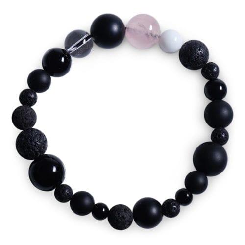 rosa/sort/hvid stjernetegn armbaand i Onyx - Stjernetegnsmykke