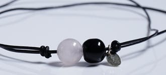 Minimalistic spiritual jewelry in-a-pearl / crystals / lava / leather cord