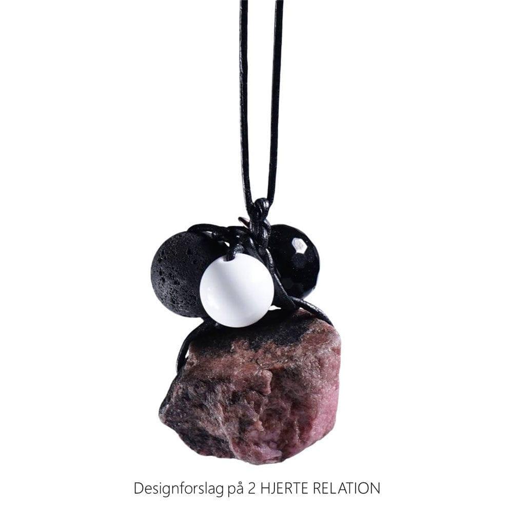 Personligt design halskaede LOVE RELATION 2 HJERTE RELATION aedelsten lava