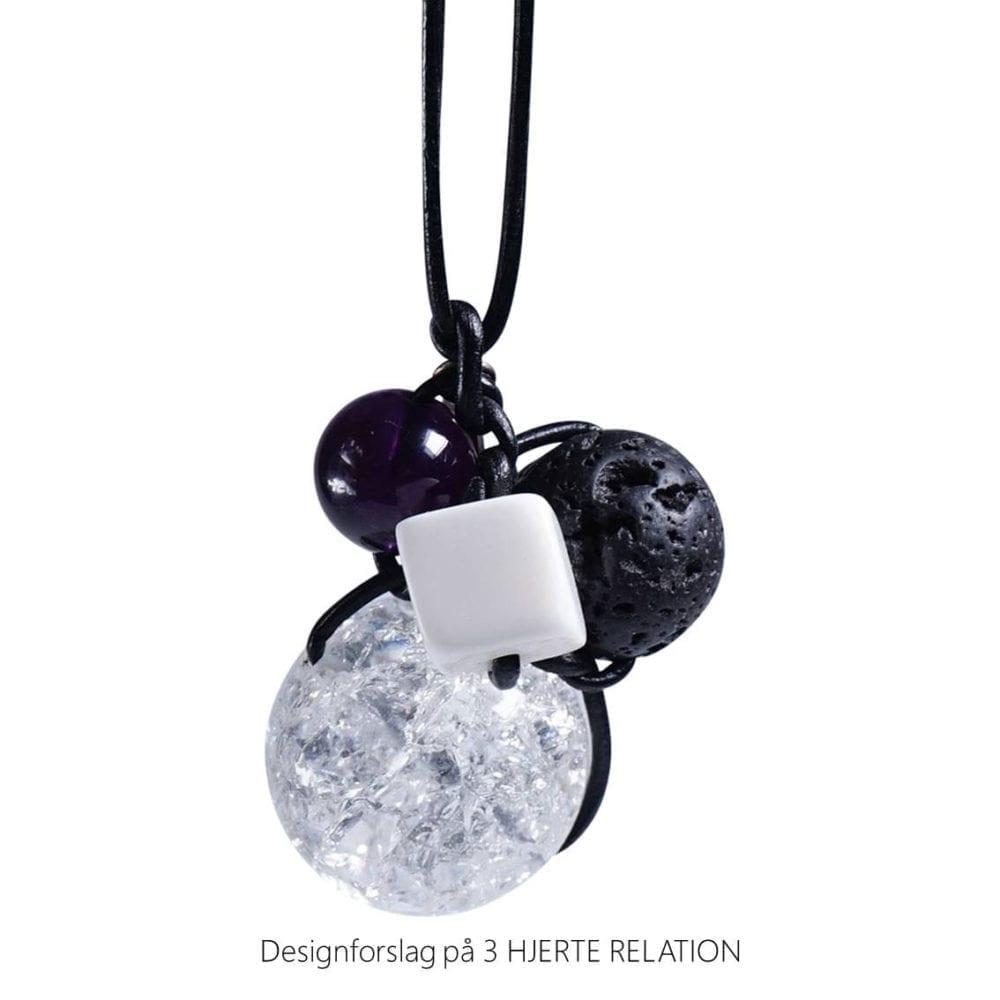 Personligt design halskaede LOVE RELATION 3 HJERTE RELATION aedelsten lava