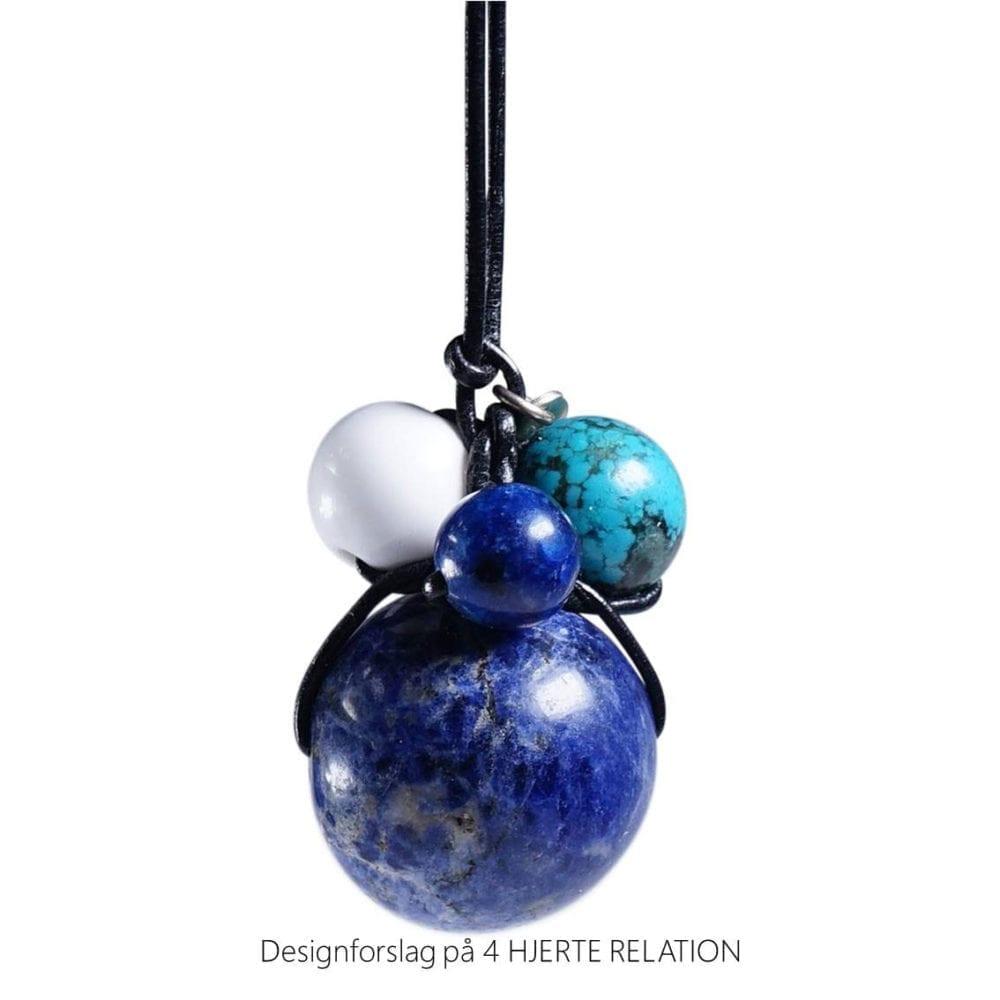 Personligt design halskaede LOVE RELATION 4 HJERTE RELATION aedelsten lava