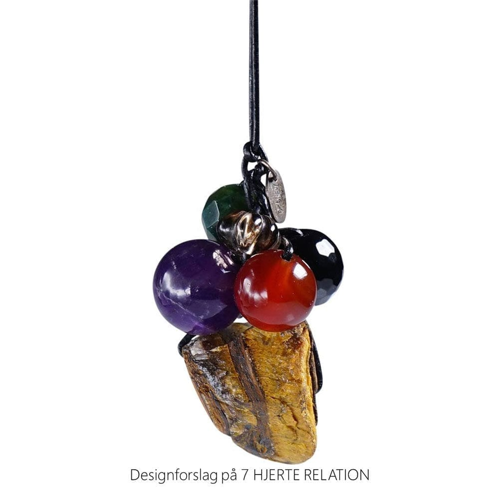 Personligt design halskaede LOVE RELATION 7 HJERTE RELATION aedelsten lava