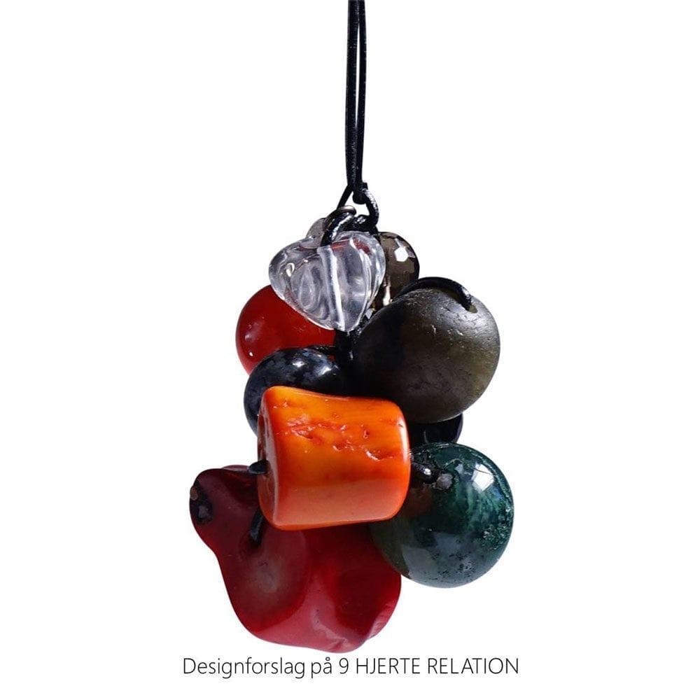 Personligt design halskaede LOVE RELATION 9 HJERTE RELATION aedelsten lava
