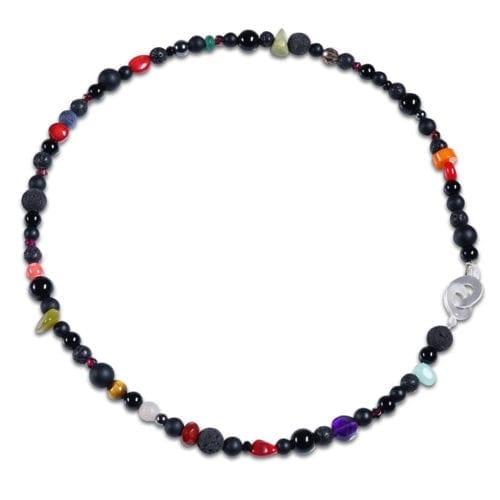 Smal multifarvet halskaede til kvinder med krysopras - spirituelt smykke