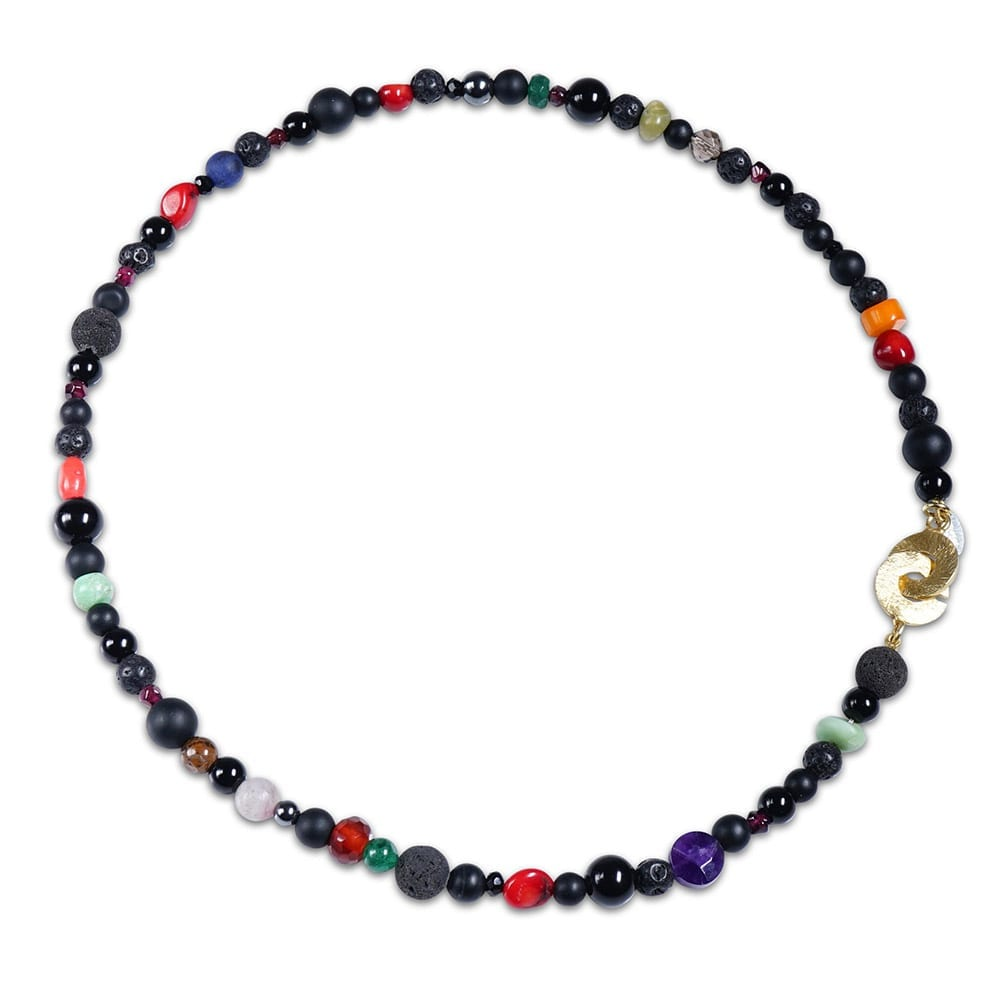 Smal multifarvet halskaede i glade farver - spirtuelt energi smykke