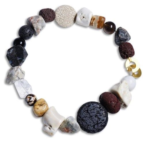 Pompoes sort/lys/ hvid koral halskaede - spirituel smykke