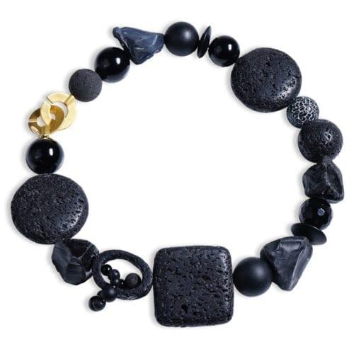 sort onyx halskaede med agat/lava dansk design stensmykke spirituel energismykke