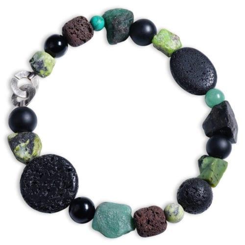 aventurin halskaede i groenne/sorte/sten / halvaedelsten