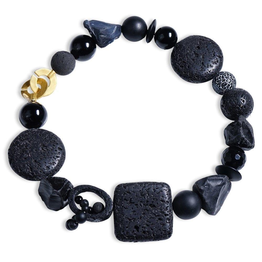sort onyx halskæde med agat/lava dansk design stensmykke spirituel energismykke