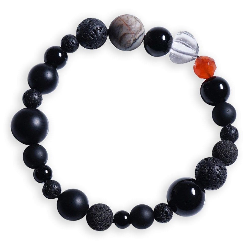 Rust orange/sort stjernetegn armbånd i Karneol - Stjernetegnsmykke