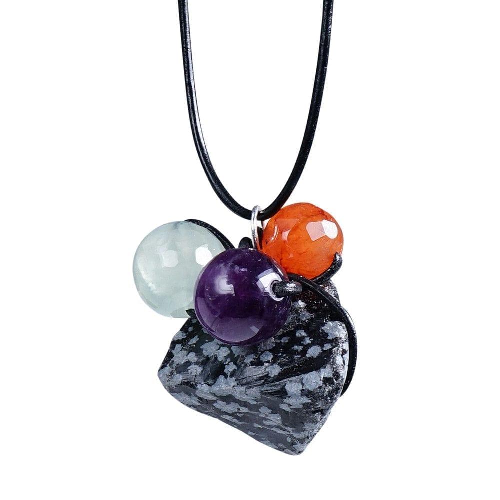 grå-sort/lilla/grøn/orange stjernetegn vedhæng i Snefnug Obsidian - Stjernetegn halskæde