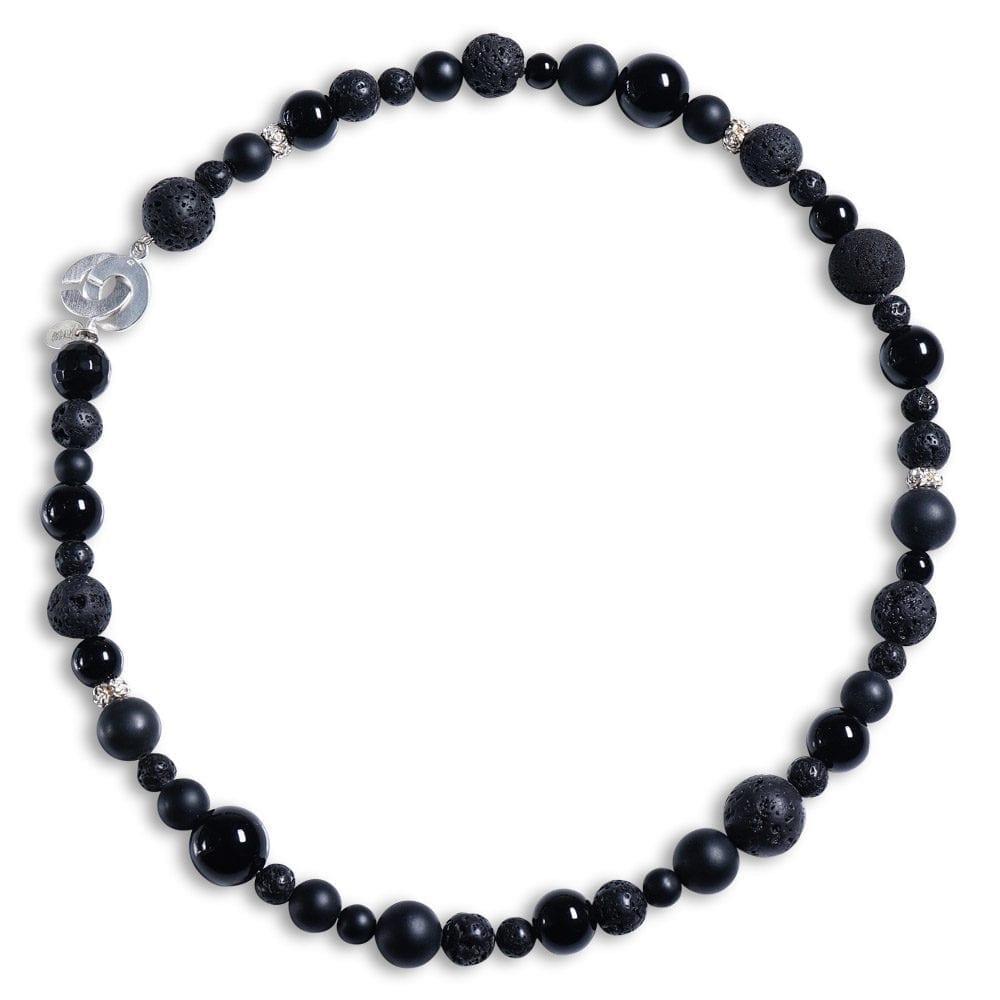 halskæde i onyx, lava, sølv - ædelsten