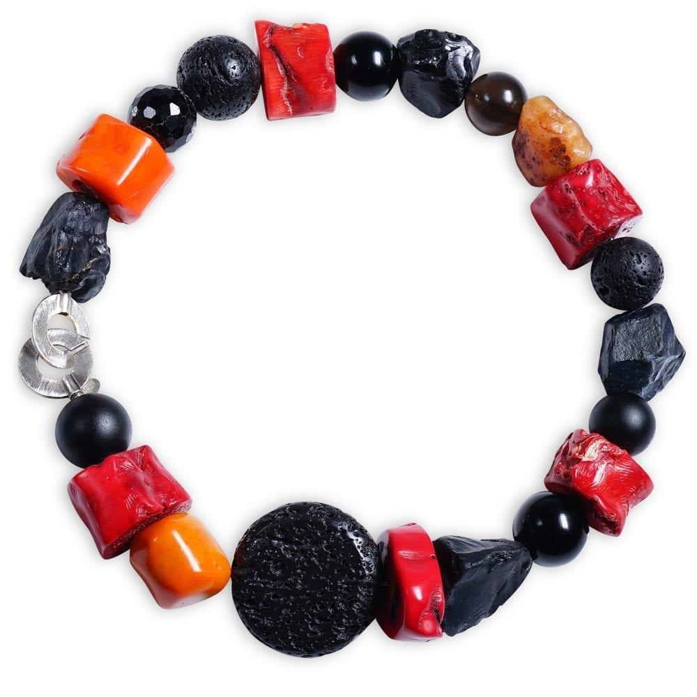 Pompøs halskæde i røde koraller, karneol, lava og onyx