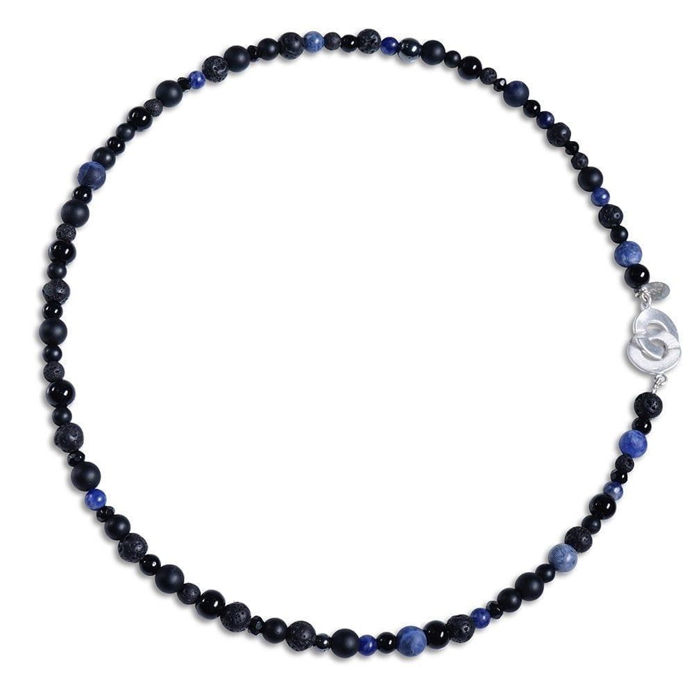 Blå/sort smalt smykkesæt i Sodalit - halskæde/armbånd