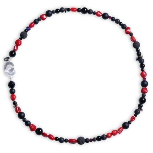 Den lille røde koral halskæde med røgkvarts/Lava/Granat/Ametyst