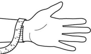 Illustration for hvordan du finder størrelsen på din armbånd