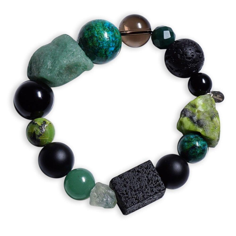 Aventurin armbånd i grøn/sort/brun sten - energiarmbånd
