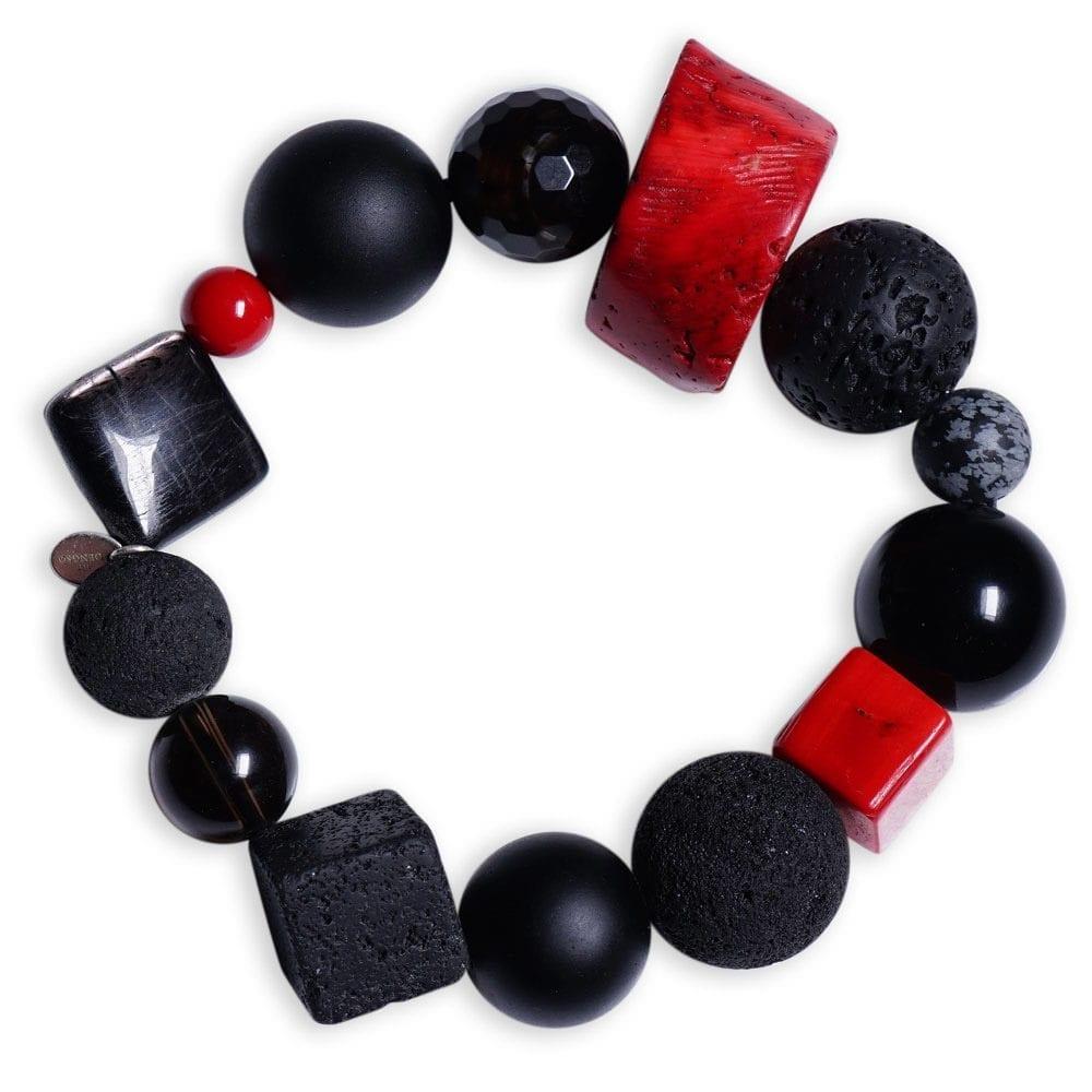 Energi armbånd med rød koral/hypersten/snefnug-obsidian