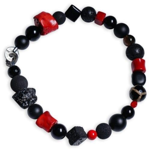 Energi smykke - halskæde med rød koral/hypersten/snefnug-obsidian
