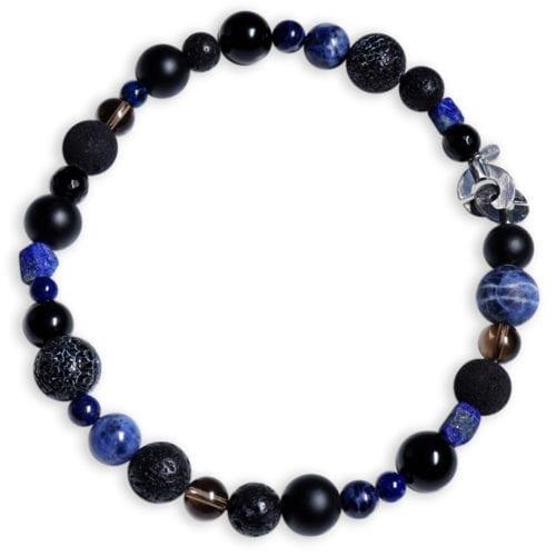 Lapis Lazuli Halskæde med halvædelstenene sodalit, onyks, røgkvarts