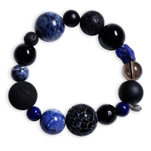 Lapis Lazuli Armbånd med halvædelstenene sodalit, onyks, røgkvarts