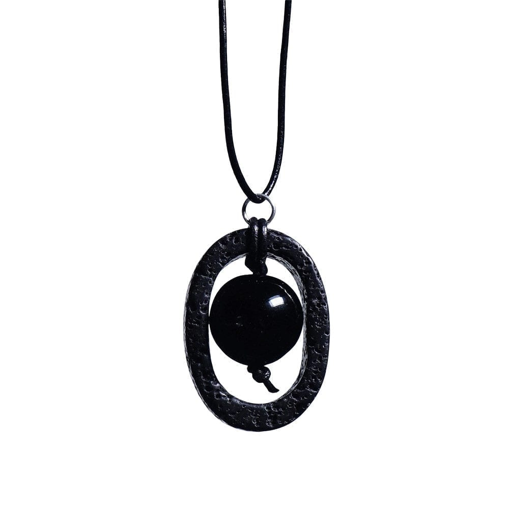 Lava vedhæng med Onyx - halskæde