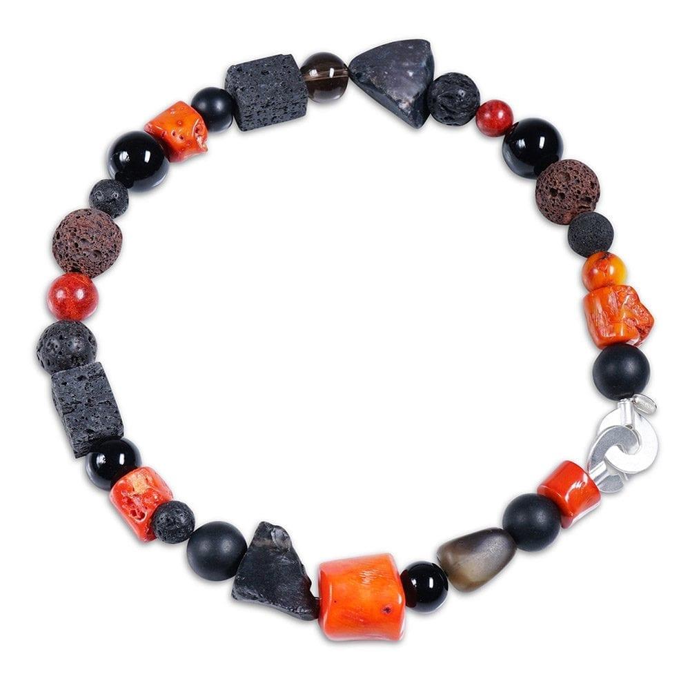 orange koral halskæde med ædelsten