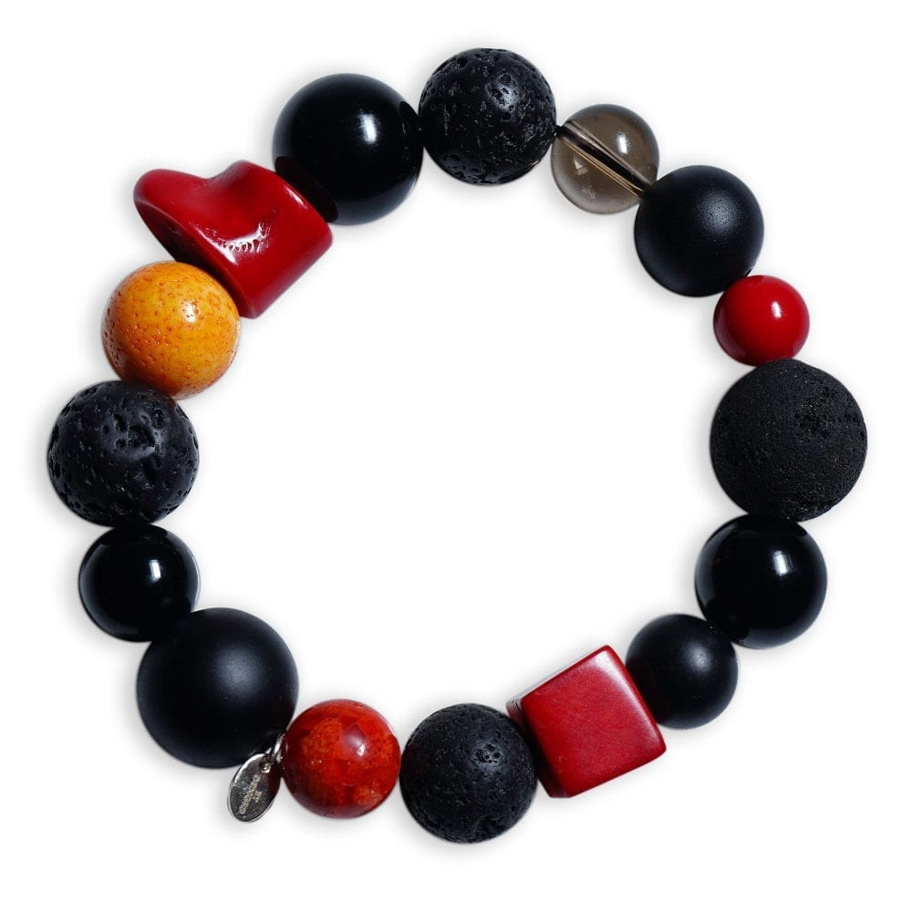 Koral Armbånd i orange/rød/sort ædelsten/lava