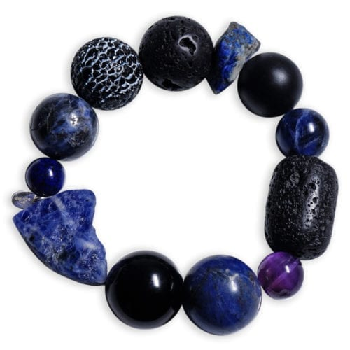 Meget stort sodalit armbånd med lapis lazuli ædelsten - gudinde stenarmbånd