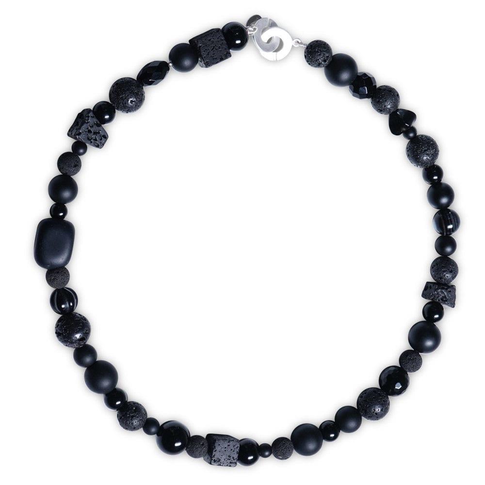 Sølv Obsidian Halskæde i sorte sten