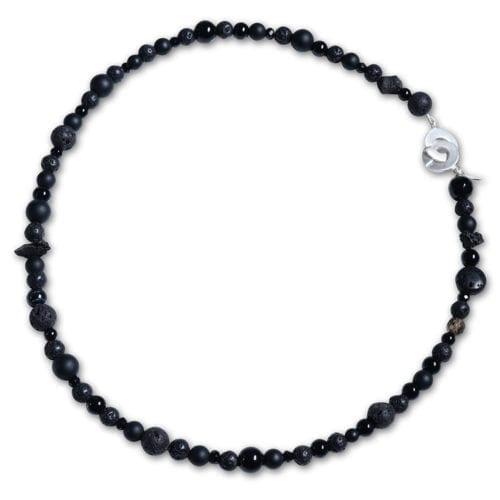 Sort Sten Halskæde med Røgkvarts - spirituelt smykke
