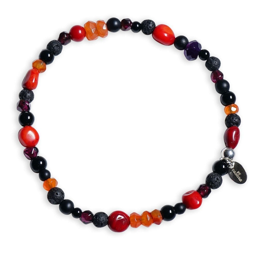 Sten armbånd med Karneol og rød Koral