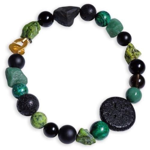 Stor krysopras halskæde med sten i grøn/sort/brun