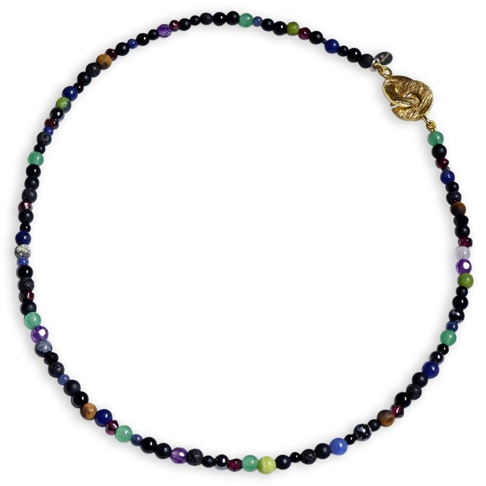Kreativitets Halskæde i regnbue farver og smykkesten